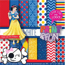 Kit Scrapbook Digital Papéis Princesa Branca De Neve
