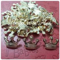 50 Botão E Aplique Coroa Dourada Branca De Neve Principe