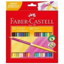 Lápis De Cor 48 Cores Redondo (24 Bicolor) Faber Castell