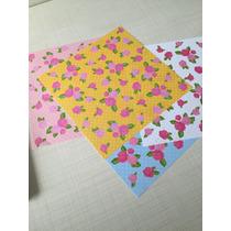 100 Folhas. Papel Estampado Para Origami 15cm X 15cm Florido