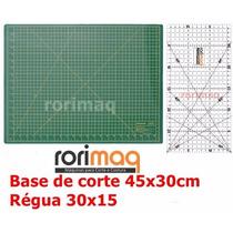 Kit Base De Corte 45x30cm + Régua 30x15cm Patchwork Scrapboo