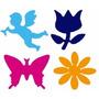 4 Furadores Eva 1,5cm Mrgarida Tulipa Anjo E Borboleta Tec