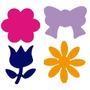 4 Furadores Eva 1,5cm Flor, 6 Petalas, Margarida Tulipa Laço