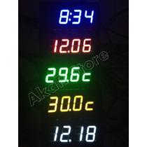 Voltímetro Relógio Termômetro Luz Led 12v 24v Dc Bateria Som