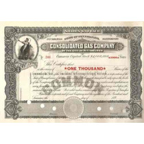 Apolice - Consolidated Gas Company - Of The City Pittsburgh
