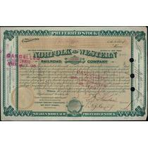Apólice U S A Norfolk And Western Railroad Company - 1887