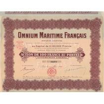 Apólice France Omnium Maritime Français - Paris 1926 * Q J *