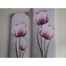 Super Promoção Par De Telas, Quadros Decorativos De Flores