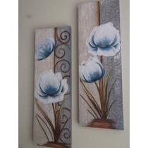 Super Promoção Par De Telas, Quadros Decorativos Flor Azul