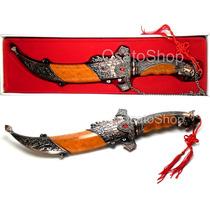 Faca Adaga Punhal Aço Inox, Decoração Rica Em Detalhes 32cm