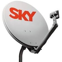 Kit Com 2 Antenas Sky + Cabo + Fixação 60 Cm Com 2 Lnbs