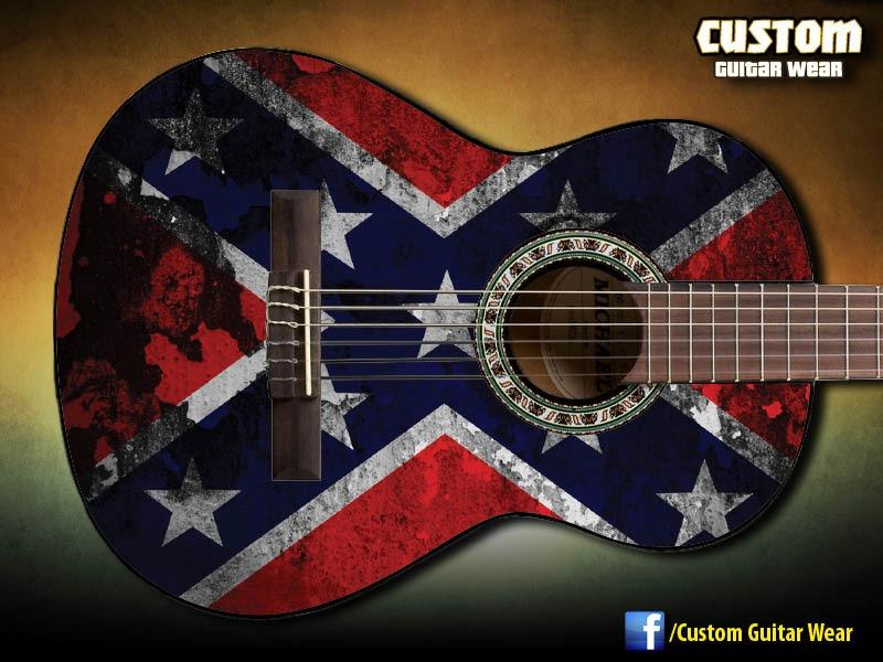 Artesanato Feltro Passo A Passo ~ Adesivo De Guitarra, Baixo E Viol u00e3o Rebel Flag R$ 120,00 no MercadoLivre