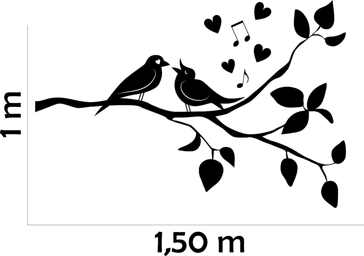 Mueble Baño Ikea Lillangen ~ Adesivo De Parede Arvore Galho Pássaros Coraç u00e3o Amor Floral R$ 49,99 no MercadoLivre
