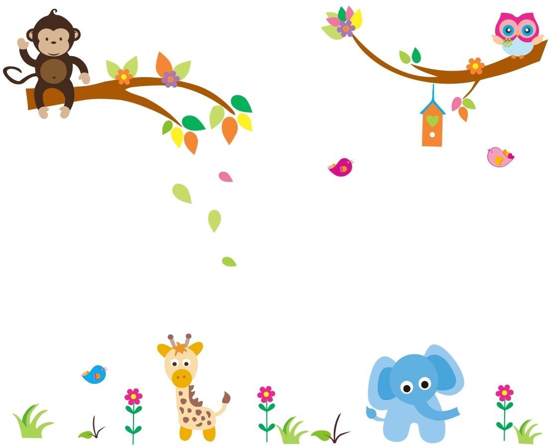 Armario Suspenso Lavanderia ~ adesivo de parede infantil zoo safari bichinhos coruja