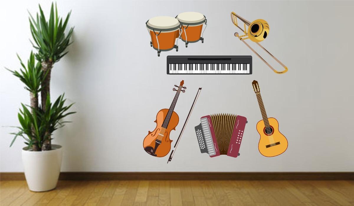 Artesanato Feltro Passo A Passo ~ Adesivo De Parede Instrumentos Musicais Viol u00e3o Gaita Teclado R$ 44,99 no MercadoLivre