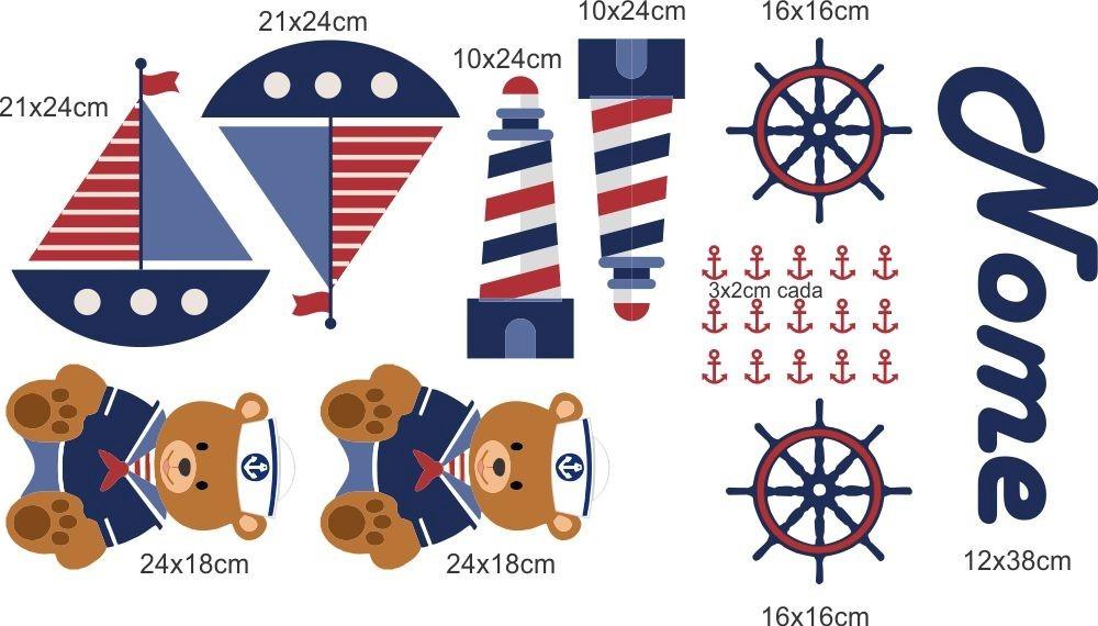 Adesivo Para Moto Z Play ~ Adesivo De Parede Urso Marinheiro Personalizado Com O Nome R$ 59,00 em Mercado Livre