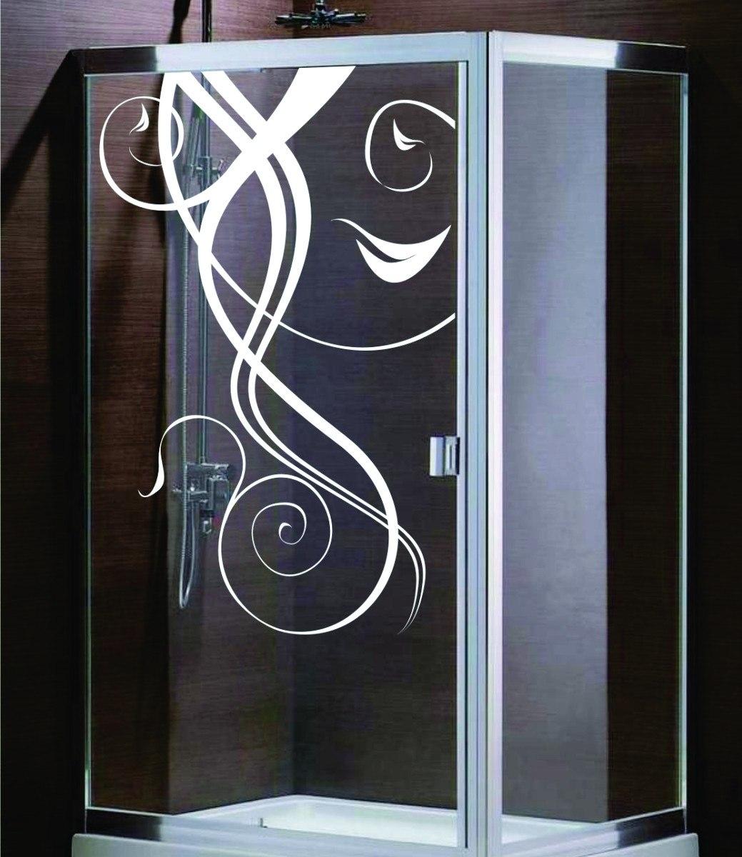 adesivo decorativo de parede banheiro box vidro floral flor #496B82 1039x1200 Adesivos Para Box De Vidro Banheiro