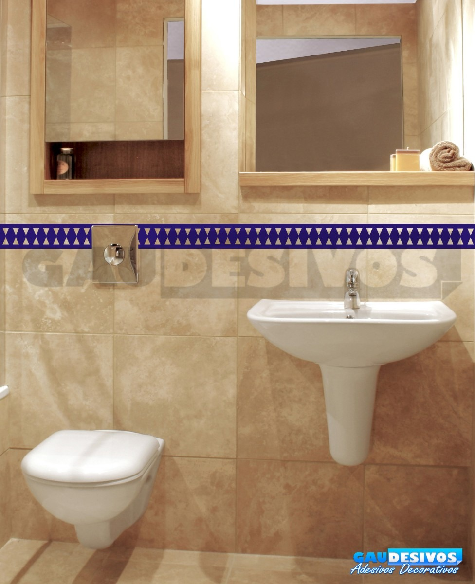 Adesivo Decorativo De Parede Faixa Border Azulejo Banheiro  R$ 9,99 no Merca -> Banheiro Decorado Com Adesivo De Azulejo