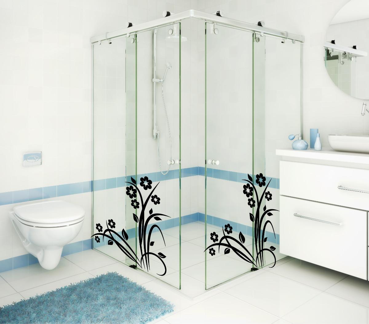 Imagens de #4C727F Adesivo Decorativo Parede Banheiro Box Vidro Floral Flores R$ 19 98  1200x1053 px 2200 Box De Vidro Para Banheiro Gravatai