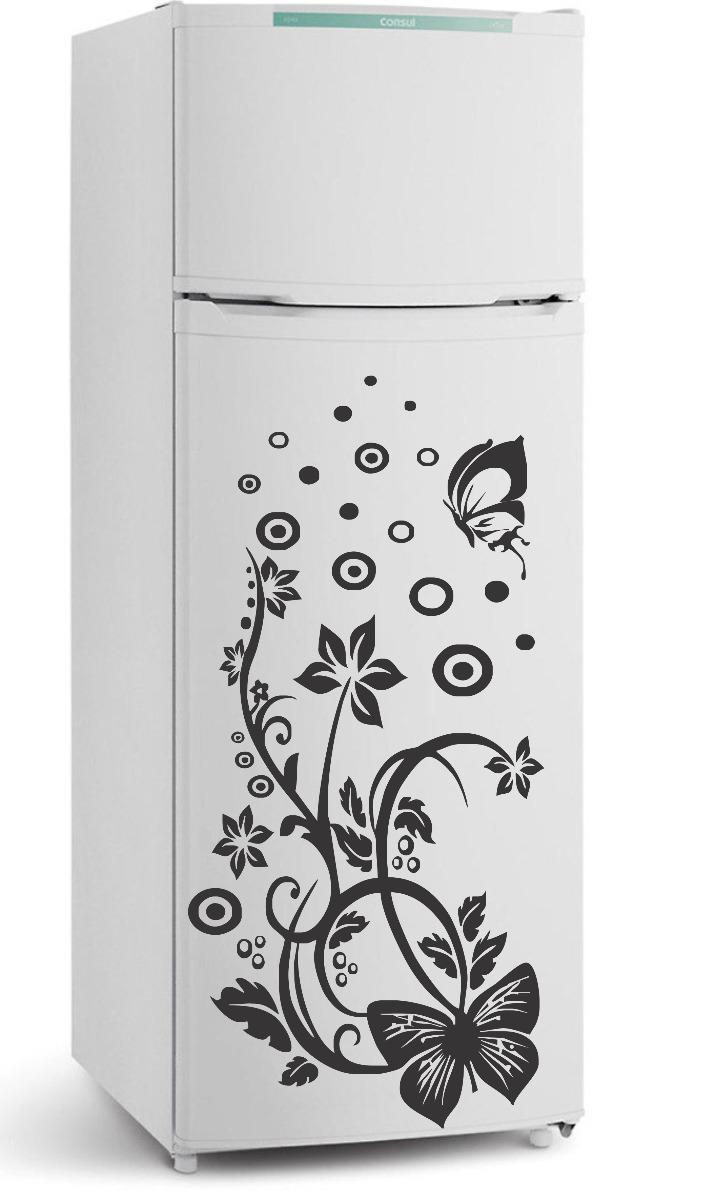 Aparador Verde Envejecido ~ Adesivo Decorativo Parede Cozinha Geladeira Floral Borboleta R$ 26,99 no MercadoLivre