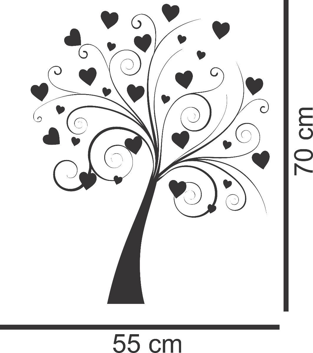 Adesivo De Coração Para Parede ~ Adesivo Decorativo Parede Quarto Box FloralÁrvore Coraç u00e3o