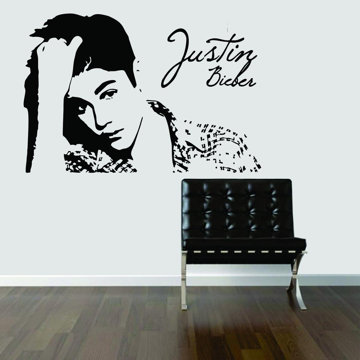 Armario Rustico Segunda Mano ~ Adesivo Decorativo Parede Quarto Música Justin Bieber R$ 28,99 no MercadoLivre