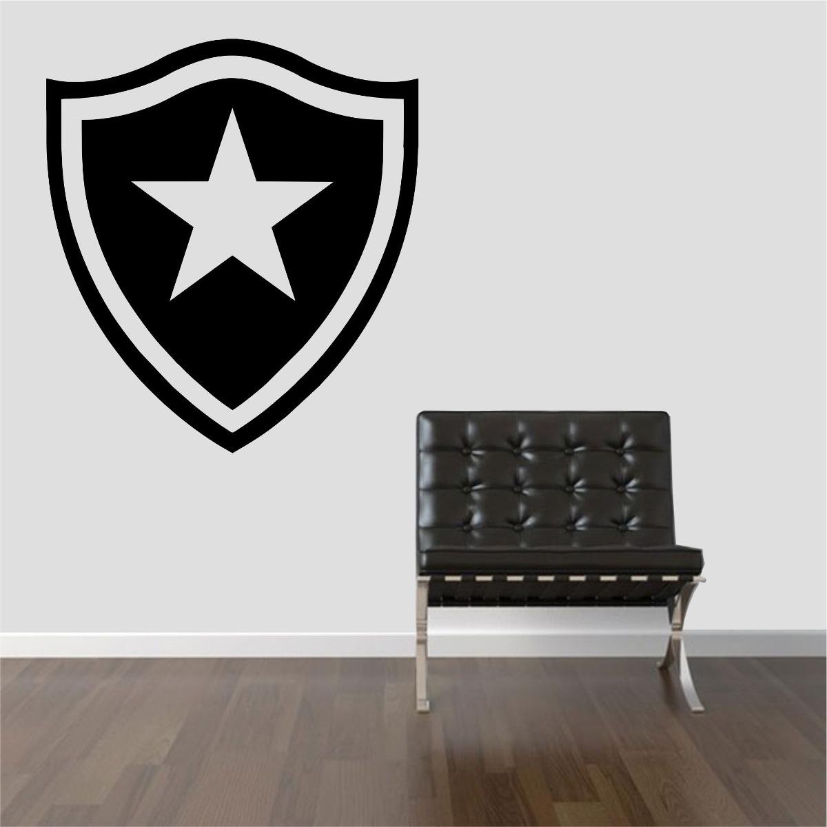 Armario Baixo Escritorio Preto ~ Adesivo Decorativo Parede Sala Escudo Time Botafogo Fog u00e3o R$ 28,99 no MercadoLivre