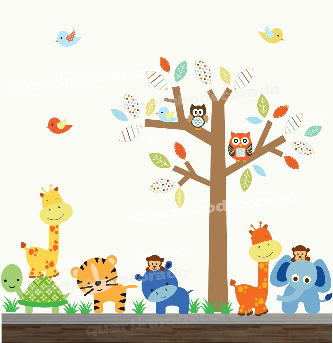 Tapete Safari Quarto Bebe : Adesivo Infantil Arvore Bebe Safari Decorativo Coruja Zoo 57 – R$ 148