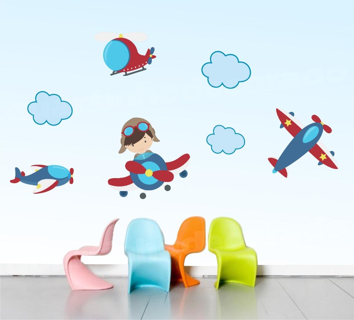 Adesivo Infantil Aviões Céu Decorativo Parede Quarto Bebe  R$ 84,90 no Merca