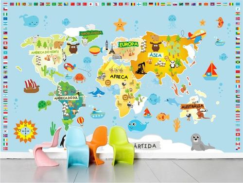 Aparador Verde Musgo ~ Adesivo Infantil Papel De Parede Mapa Mundi Decorativo Bebe R$ 129,00 no MercadoLivre