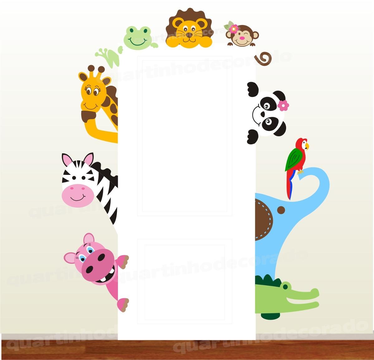 Adesivo Geladeira Inteira Mercado Livre ~ Adesivo Infantil Safari Porta Decorativo Parede Bebe Zoo 64 R$ 148,00 no MercadoLivre