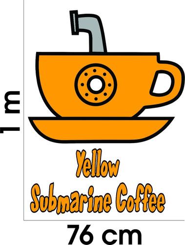 Aparador De Inox Para Cozinha ~ Adesivo Parede Geladeira Café Frase Yellow Submarine Coffe
