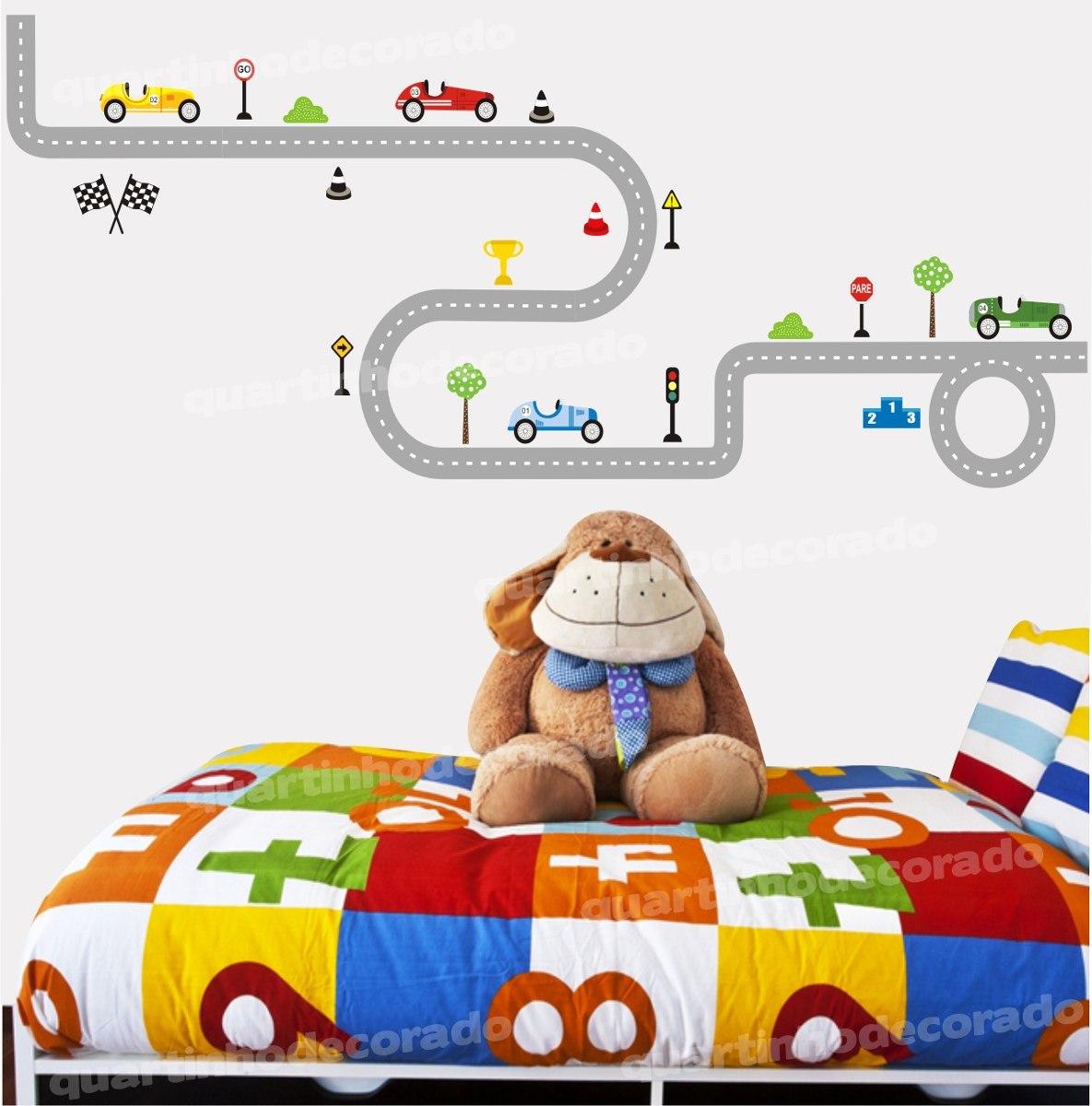 Adesivo Parede Infantil Decorativo Pista Carros Menino  ~ Adesivo De Parede Quarto Infantil Carros
