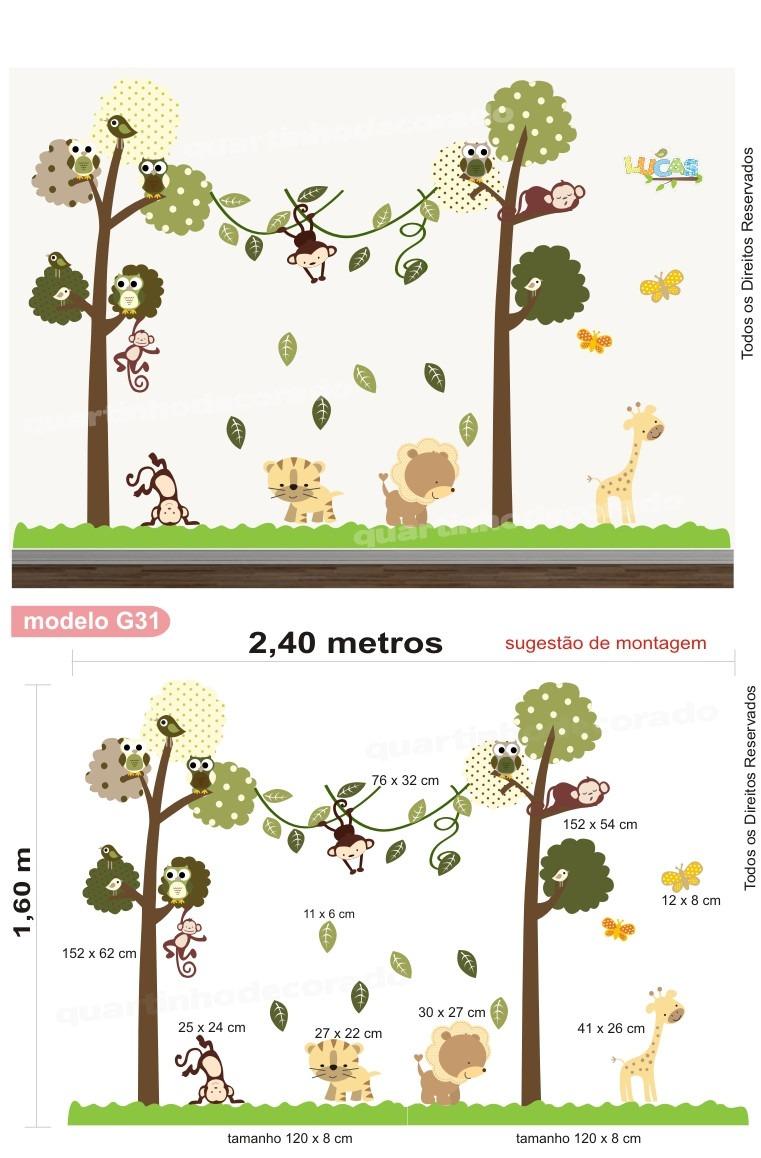 Tapete Para Quarto Infantil Safari ~ Adesivo Quarto Infantil Papel De Parede Arvore Safari Zoo  R$ 148,00