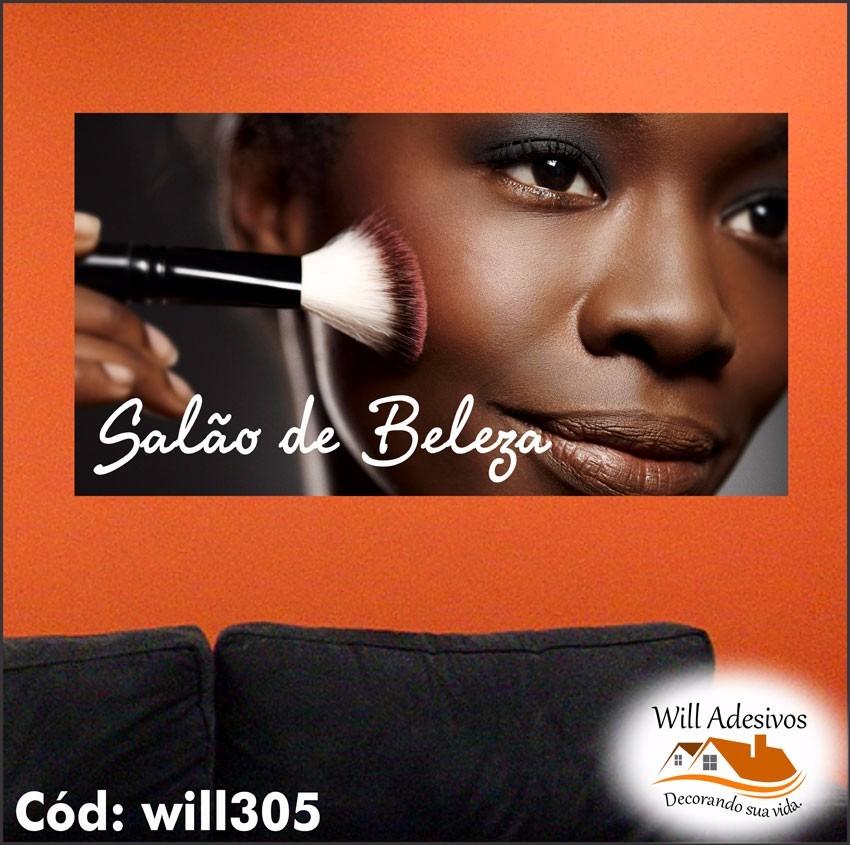 Aparador Moveis ~ Adesivo Sal u00e3o De Beleza Rosto Mulher Negra Maquiagem Will305 R$ 54,45 no MercadoLivre