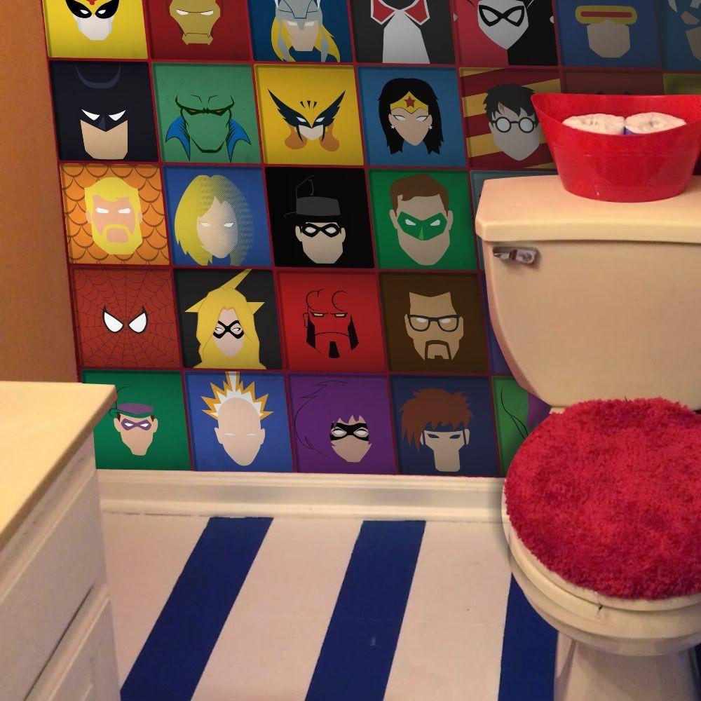 Adesivos De Parede  Azulejos Super Heróis 443  Marvel  Dc  R$ 69,00 no Me