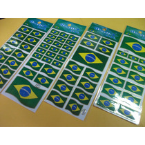 Bandeira Do Brasil Adesivo Stickers C/ 12 Cartelas
