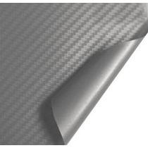 Adesivo Envelopamento Fibra De Carbono Prata Tuning 1x2m