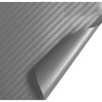 Adesivo Envelopamento Fibra De Carbono Prata Tuning 1x3m