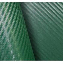 Adesivo Envelopamento Carro Moto Fibra Carbono Verde 1mx3m