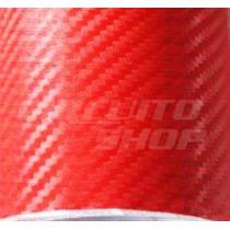 Adesivo Envelopamento Carro Moto Fibra Carbono Vermelha 1x3m