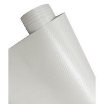 Adesivo Fibra De Carbono 3d Moldável Texturizado Branco 1x1m