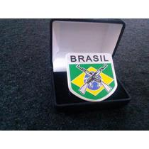 Emblema Em Metal Bandeira Do Brasil Armada Alta Qualidade!!!