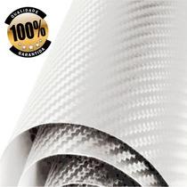 10 Metros Adesivo Fibra Carbon Branco Envelopamento Plotagem