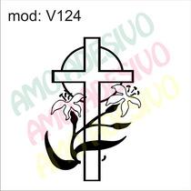 Adesivo V124 Cruz Flores Folhas Flor Arranjo Crucifixo