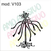 Adesivo V103 Arranjo Folhas Flores Decorativo De Parede