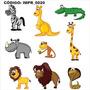 Adesivo Imp20 Infantil Kit Animais Jacare Girafa Macaco Leao
