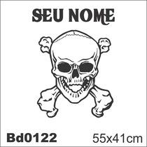 Adesivo Bd0122 Caveira Pirata Nome Decoração Parede