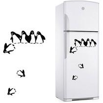 Adesivo Decorativo De Geladeira Pinguim Caindo, Cozinha Box