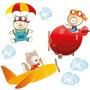 Adesivo Para Parede Infantil Amiguinhos Do Céu Bebê